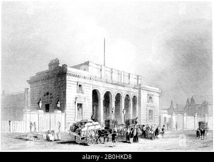 An engraving of the South Western Railway Station Nine Elms, London scanned at high resolution from a book printed in 1851.Believed copyright free. - Stock Photo