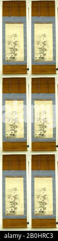 In the Style of Tawaraya Sōtatsu, White Hollyhocks, Japan, Edo period (1615–1868), In the Style of Tawaraya Sōtatsu (Japanese, ca. 1570–ca. 1640), 17th century, Japan, Hanging scroll; ink and color on paper, 33 7/8 x 17 1/8 in. (86 x 43.5 cm), Paintings - Stock Photo