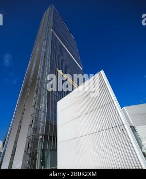The skyscraper 'Il Dritto' (2015, 207 m, 50 floors), also called Isozaki Tower, in the new district of Citylife in Milan, Italy - Stock Photo