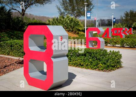 Retired numbers of past players for the Boston Red Sox at JetBlue Park - Red Sox spring training facility, Ft Myers, Florida, USA - Stock Photo