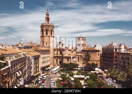 Stock photo of a panoramic view of Plaza de la Reina (Queen's Square) and Miguelete Tower in Valencia, Spain - Stock Photo