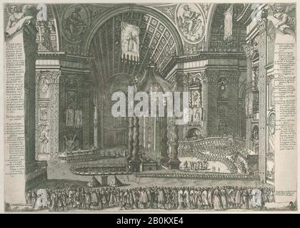 Giovanni Battista Falda, Theater in Saint Peter's Basilica for the Canonization of Gaetano Thiene and Francis Borgia on April 12, 1671, Giovanni Battista Falda (Italian, Valduggia 1643–1678 Rome), 1671, Etching; second state of two, Sheet (Trimmed): 14 1/8 × 19 5/8 in. (35.9 × 49.9 cm), Prints - Stock Photo