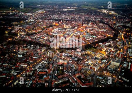 aerial view, overview of Münster, St. Paul's Cathedral, cathedral, night view, Münster, Münsterland, North Rhine-Westphalia, Germany, DE, Europe, bird - Stock Photo
