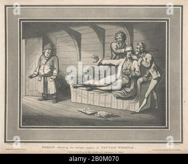 Thomas Rowlandson, Morgan Offending The Delicate Organs of Captain Whiffle, Six Illustrations to the Adventures of Roderick Random, vol. I, chap. XXXIV, After Samuel Collings (British, active 1784–95), May 12, 1800, Etching and aquatint, Sheet: 11 1/8 × 13 9/16 in. (28.3 × 34.4 cm), Prints - Stock Photo