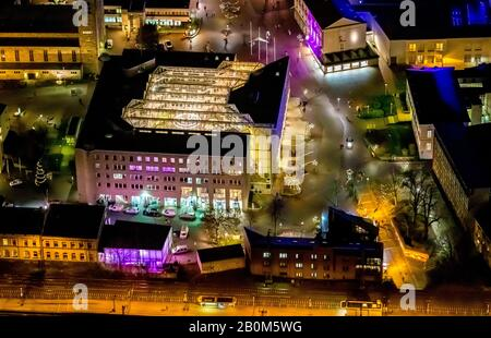 aerial photo flight over the nocturnal Unna, Unna central station, Unna train station, city administration Unna, city hall Unna, Unna, Ruhr area, Nort