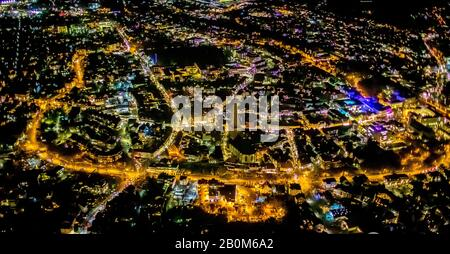 Aerial photo flight over the nocturnal Unna,market, market place of the city of Unna, Christmas market with Christmas lighting, lamp garlands, Unna, R