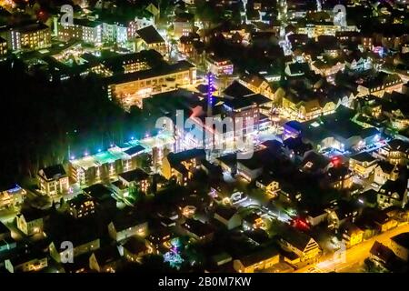 Aerial photo flight over the nocturnal Unna, the Linden Brewery e. V. Culture and Communication Centre, Centre for International Light Art, Theater Na