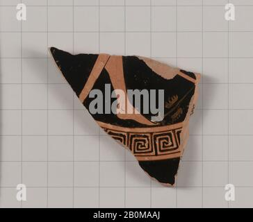 Attributed to the Foundry Painter, Terracotta fragment of a kylix (drinking cup), Greek, Attic, Late Archaic, Date 490–480 B.C., Greek, Attic, Terracotta; red-figure, Vases - Stock Photo