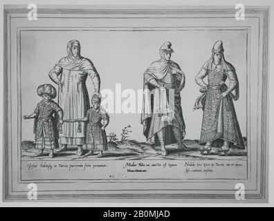 Abraham de Bruyn, Gestus habitusq. in Turcia puerorum foras exeuntium; Mulier Turca cui amictui est tegmen Maurit, um; Nobilis viri vxor in Turcia ita vt domi sese continent, vestita, Abraham de Bruyn (Flemish, Antwerp 1540–1587 Cologne (?)), 1580, Engraving, Image: 8 11/16 × 13 1/8 in. (22.1 × 33.4 cm), Frame: 10 5/8 × 14 3/4 in. (27 × 37.5 cm), Sheet: 21 5/16 × 16 5/16 in. (54.2 × 41.5 cm), Book: 21 7/8 × 16 3/4 × 1 15/16 in. (55.5 × 42.5 × 5 cm