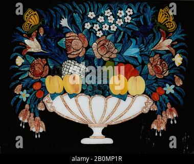 Still Life—Flowers and Fruit in White and Pink Bowl, American, 1840–60, American, Oil on glass, tinsel, 15 7/8 x 20 in. (40.3 x 50.8 cm), Paintings - Stock Photo