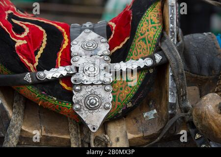 Decorated horse saddle on a horse at the Golden Eagle Festival grounds near the city of Ulgii (Ölgii) in the Bayan-Ulgii Province in western Mongolia.