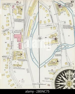 Image 10 of Sanborn Fire Insurance Map from Danbury, Fairfield County, Connecticut. Nov 1892. 13 Sheet(s), America, street map with a Nineteenth Century compass Stock Photo