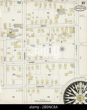 Image 10 of Sanborn Fire Insurance Map from Brockton, Plymouth County, Massachusetts. Oct 1889. 31 Sheet(s), America, street map with a Nineteenth Century compass Stock Photo