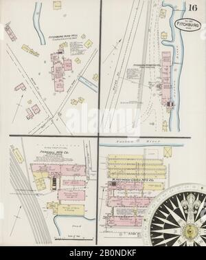 Image 16 of Sanborn Fire Insurance Map from Fitchburg, Worcester County, Massachusetts. Nov 1887. 17 Sheet(s), America, street map with a Nineteenth Century compass Stock Photo