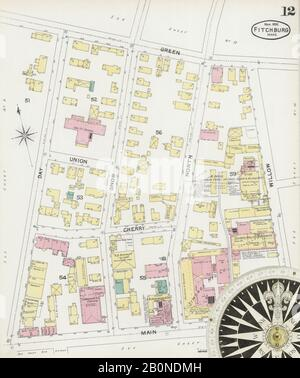 Image 12 of Sanborn Fire Insurance Map from Fitchburg, Worcester County, Massachusetts. Mar 1892. 23 Sheet(s), America, street map with a Nineteenth Century compass