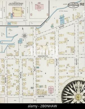 Image 32 of Sanborn Fire Insurance Map from New Bedford, Bristol County, Massachusetts. Nov 1888. 32 Sheet(s). Includes Fairhaven, America, street map with a Nineteenth Century compass - Stock Photo