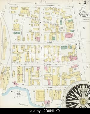Image 2 of Sanborn Fire Insurance Map from Lewiston, Androscoggin County, Maine. Apr 1897. 17 Sheet(s), America, street map with a Nineteenth Century compass Stock Photo