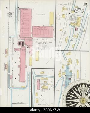Image 10 of Sanborn Fire Insurance Map from Adams, Berkshire County, Massachusetts. Feb 1895. 10 Sheet(s), America, street map with a Nineteenth Century compass Stock Photo
