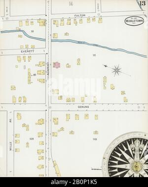 Image 13 of Sanborn Fire Insurance Map from Middletown, Orange County, New York. Dec 1892. 17 Sheet(s), America, street map with a Nineteenth Century compass - Stock Photo