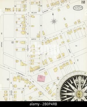 Image 12 of Sanborn Fire Insurance Map from Butler, Butler County, Pennsylvania. Sep 1896. 14 Sheet(s), America, street map with a Nineteenth Century compass Stock Photo