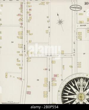 Image 10 of Sanborn Fire Insurance Map from Chambersburg, Franklin County, Pennsylvania. Nov 1887. 14 Sheet(s), America, street map with a Nineteenth Century compass Stock Photo