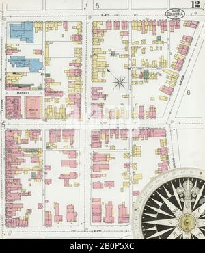 Image 12 of Sanborn Fire Insurance Map from Columbia, Lancaster County, Pennsylvania. Mar 1899. 18 Sheet(s), America, street map with a Nineteenth Century compass