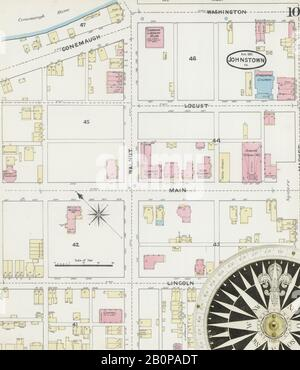 Image 10 of Sanborn Fire Insurance Map from Johnstown, Cambria County, Pennsylvania. Aug 1891. 21 Sheet(s), America, street map with a Nineteenth Century compass Stock Photo