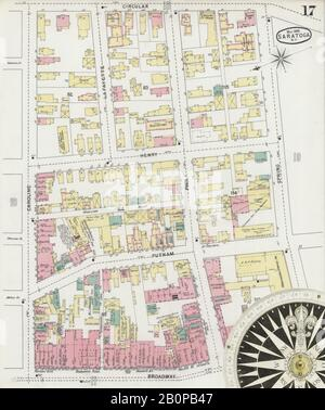 Image 17 of Sanborn Fire Insurance Map from Saratoga, Saratoga County, New York. May 1895. 30 Sheet(s), America, street map with a Nineteenth Century compass - Stock Photo