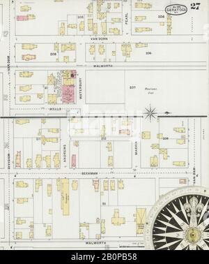 Image 27 of Sanborn Fire Insurance Map from Saratoga, Saratoga County, New York. May 1895. 30 Sheet(s), America, street map with a Nineteenth Century compass