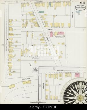 Image 24 of Sanborn Fire Insurance Map from Schenectady, Schenectady County, New York. May 1894. 37 Sheet(s), America, street map with a Nineteenth Century compass
