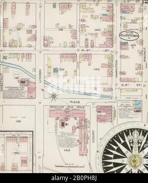 Image 12 of Sanborn Fire Insurance Map from Allentown, Lehigh County, Pennsylvania. Mar 1885. 25 Sheet(s), America, street map with a Nineteenth Century compass
