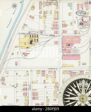 Image 6 of Sanborn Fire Insurance Map from Pottstown, Montgomery County, Pennsylvania. Jul 1896. 14 Sheet(s), America, street map with a Nineteenth Century compass Stock Photo