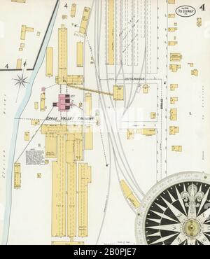 Image 4 of Sanborn Fire Insurance Map from Ridgway, Elk County, Pennsylvania. Aug 1898. 6 Sheet(s), America, street map with a Nineteenth Century compass Stock Photo