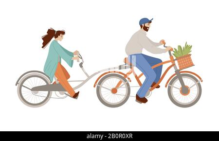 Vector cartoon illustration of happy family riding a fixed gear Co-Pilot Bike Trailer, bicycle with two adults, woman and man doing summer activities - Stock Photo