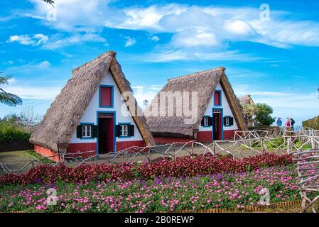 A-frame houses, Santana, Madeira - Stock Photo