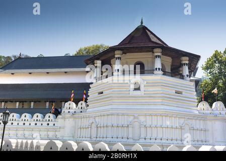 Kandy, Sri Lanka: 03/19/2019: Sri Dalada Maligawa Buddhist shrine housing scared tooth relic of Budda.