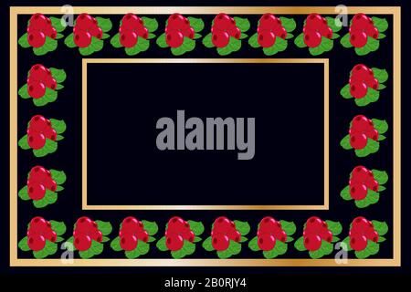 Gold frame lingonberry tea, wine or alcohol label package. Fruit tag for food products, juice,jam, ice cream, smoothies,yogurt, soap, cosmetics.Vector - Stock Photo