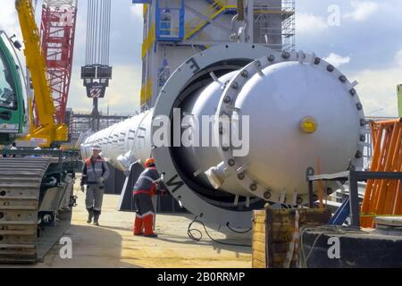 Moscow, Russia - May 20, 2017: Installation of the reforming column at the Moscow oil refinery. - Stock Photo
