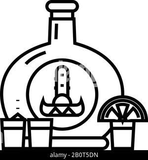Bar glasses line icon, concept sign, outline vector illustration, linear symbol. - Stock Photo
