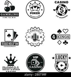 Vintage gambling, casino, poker royal tournament, roulette vector labels, emblems, logos and badges. Poker game logo, illustration of gamble game emblem - Stock Photo