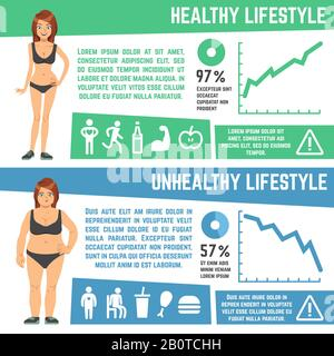 Weight loss and diet medical vector infographics. Healthy and unhealthy lifestyle graphic illustration - Stock Photo