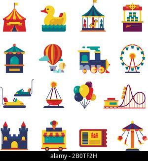 Fairground games and amusement park flat vector icons. Funfair icons set of ferris wheel and amusement park illustration - Stock Photo