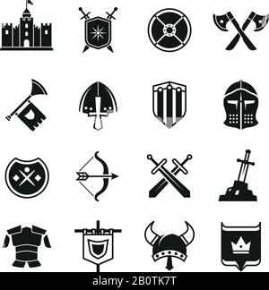 Medieval warriors shield and sword vector icons. Ancient knight symbols. Sword weapon and collection of history accessory illustration - Stock Photo