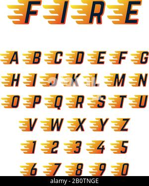 Burning running letters with flame. Hot fire vector font alphabet for racing car. Alphabet letter motion burn, speed flame abc illustration - Stock Photo