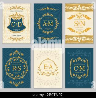 Luxury vintage wedding invitation vector cards with logo monograms and ornate frame. Classic monogram luxury label on invitation poster illustration - Stock Photo