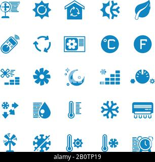 House and car air conditioning, heating and cooling vector icons. Cooling conditioner, thermometer and fan, temperature conditioning illustration - Stock Photo