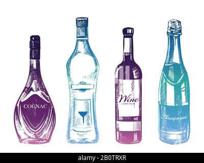 Colorful hand drawn alcohol drinks isolated on white background. Glass of bottle color. Vector illustration - Stock Photo