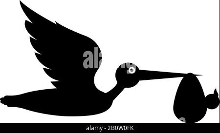 Stork carries baby in bag Flying bird with kind in beak bundle icon black color vector illustration flat style simple image - Stock Photo