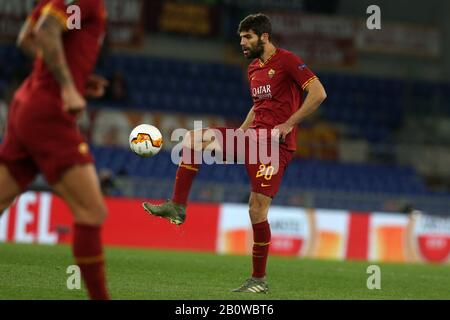 Federico Fazio (Roma) in action during the Europa League match between AS Roma and KAA Gent at Stadio Olimpico on February 20, 2020 in Rome, Italy. AS Roma beat KAA Gent by 1-0 during the round of 16 of UEFA Europa League. (Photo by Giuseppe Fama/Pacific Press/Sipa USA) - Stock Photo