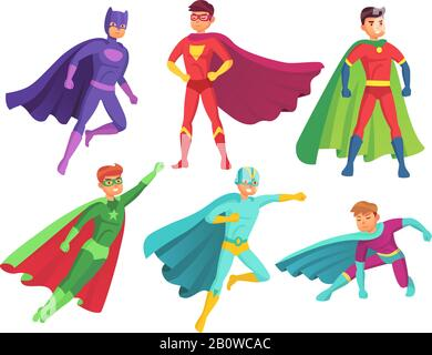 Superhero man characters. Cartoon muscular hero character in colorful super costume with waving cloak. Flying superheroes vector set - Stock Photo